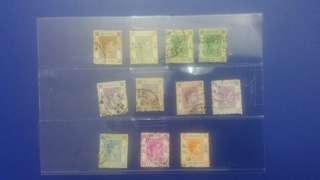 免平郵費香港郵票英皇喬治六世吾同面直郵票共11個,完美者不合,有黃