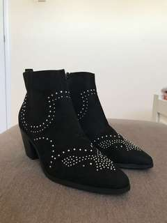 ASOS Studded Western Block Heel Ankle Boot