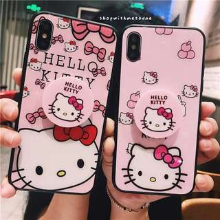 Hello Kitty Tempered Glass Iphone X / 8plus / 7 / 6S casing