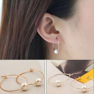 Pair Copper Tube Dangle Ring Big Hoop Circle Round Earrings [MJN41]