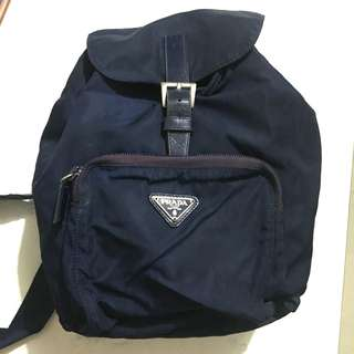 Prada 深藍細款 背包  Backpack 中古款