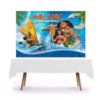 DIGITAL FILE ONLY:  6x4ft Personalized Moana Themed Table Backdrop Tarpaulin Banner
