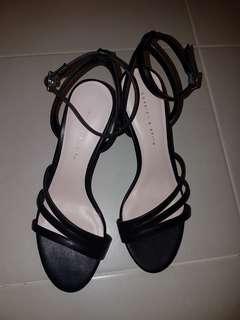 Black open toe ankle strap block heels