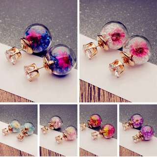 BN 1 Pair Charming Elegant Flower Rhinestone Glass Earrings [MJN47]