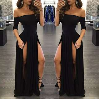 Off Shoulder Long Dress Black