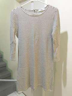 Mango white, striped shift dress