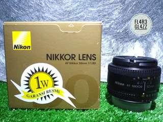 Lensa Nikon Af-D 50mm F1.8D Super Mulus Garansi Panjang