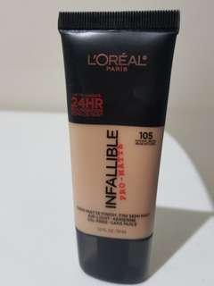 L'Oreal Infallible 24HR Pro-Matte Foundation (105 Natural Beige)