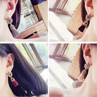 BN Thread Long Tassel Earrings Rhinestone Drop Fringe Earrings [MJN54]