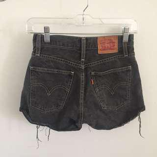 size 24 black levis high waisted shorts