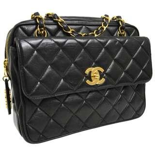 Vintage Chanel黑色羊皮菱格金扣camera bag 25.5x19x9cm
