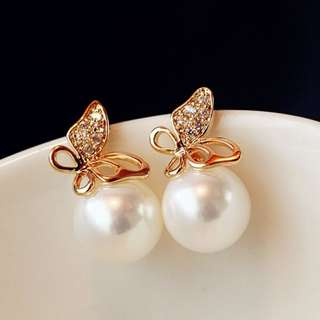 BN Fashion Jewelry Women Crystal Gold Butterfly Pearl Ear Stud Earrings [MJN70]