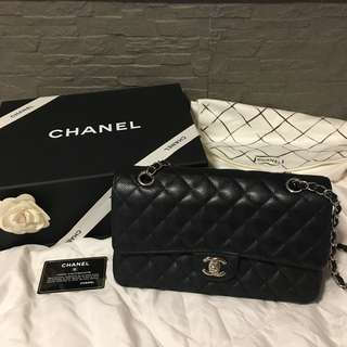 Chanel classic medium 25cm 荔枝皮銀扣
