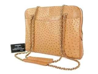 Vintage Chanel奶茶啡駝鳥皮Tote Bag 35x26x8cm