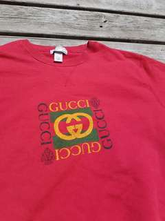 Red pullover sweater with Gucci logo