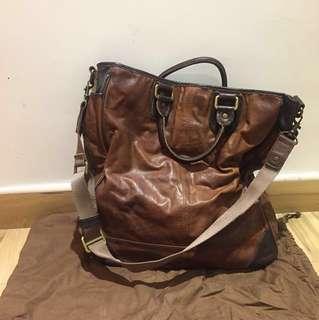 100% NEW 全新TOUGH genuine leather 特別超級型格啡色真皮斜揹側揹手提包袋brown handbag bag(連有塵袋)