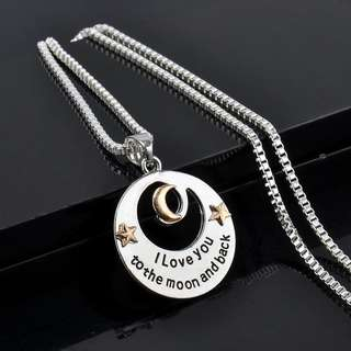 "BN ""I LOVE YOU TO THE MOON AND BACK"" Alloy Necklace Pendant Long Chain Silver [MJN80]"