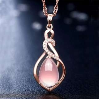 BN Women Rose Gold Plated Statement Delicate Crystal Pink Pendant Necklace [MJN84]