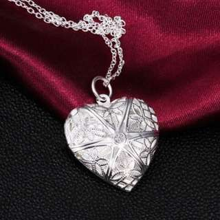 BN Elegant Heart lover locket chain necklace pendant valentine Silver [MJN86]
