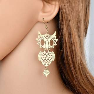 BN Retro Vintage Women Owl Hollow Drop Dangle Hook Earring [MJN88]
