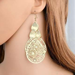 BN 1Pair Court style Retro Multilayer Hollow Flower Dangle Hook Earring [MJN89]