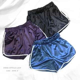 (現)歐美緞面寬鬆運動短褲