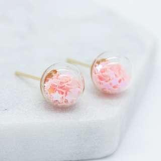 Cute pink stars in a glass stud earrings