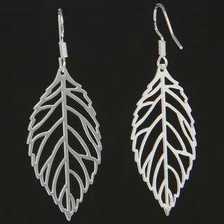 BN Women 925 Silver Filled Hollow Leaf Urban Dangle Drop Hook Earrings [MJN92]