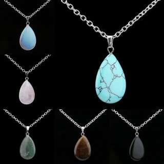 BN Women's Waterdrop Natural Stone Chakra Healing Pendant Necklace [MJN93]