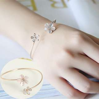 BN Fashion Women's Crystal Opal Daisy Flower Gold Plated Cuff Bracelet Bangle [MJN95]