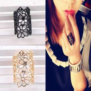 BN Women Black /Gold Hollow Out Lace Engraving Flower Joint Ring [MJN98]
