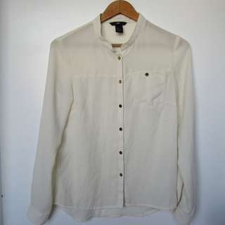 H&M White Long-sleeved Polo
