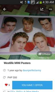 WESTLIFE MINI POSTERS