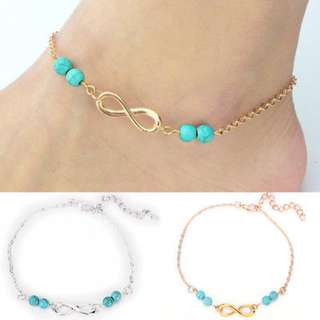 BN Charm Ankle Chain 8 Shape Turquoise Simple Bracelet [MJN100]