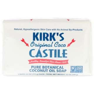 3 pcs Kirk's, Original Coco Castile Bar Soap, 3 Bars, 4 oz (113 g) Each