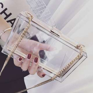 Cute Acrylic Clutch Transparent Clear Purse Bag Box