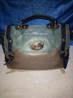 Hand bag biru coklat ngeletek banyak jual murah