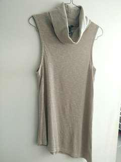 Asymmetric turtle neck tank top