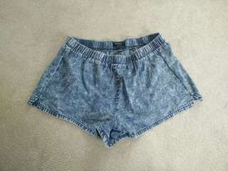 Acid wash dolphin shorts