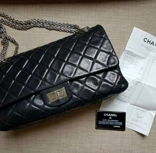 美品Chanel 2.55 Reissue 227閃燿黑羊皮復刻版銀鍊classic flap bag