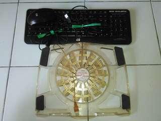 Mouse keyboard hp + cooling fan laptop take all
