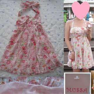 Cute pink floral summer halter dress