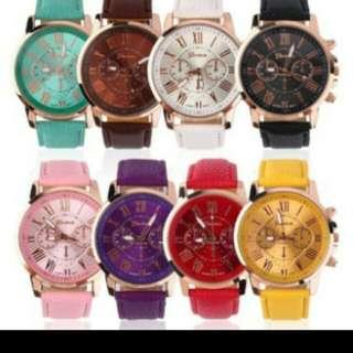 Roman leather wrist watch