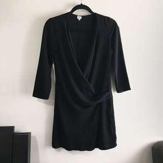 Aritzia Wilfred 0 Black Front Draped Dress