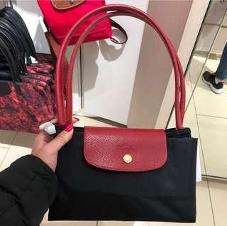 Longchamp 長柄L 罕有紅柄黑袋