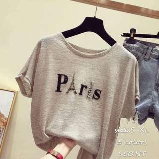 巴黎逢珠字體上衣