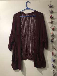 MOVING SALE: maroon knit oversized cardigan