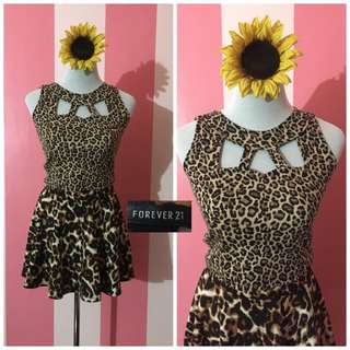 SET! Leopard Forever 21 Skirt and Crop Top