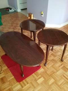 Cherry coffee and end tables