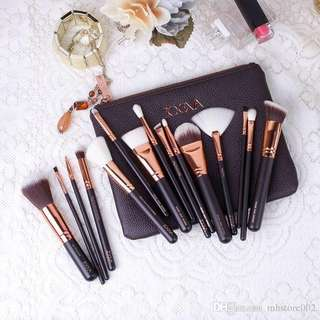🚚 Luxury Rose Gold Complete Set 18pcs Brush with Zipper Pouch